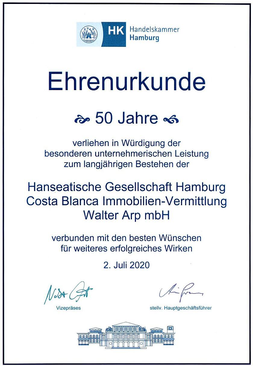 Ehrenurkunde für die HG Hamburg