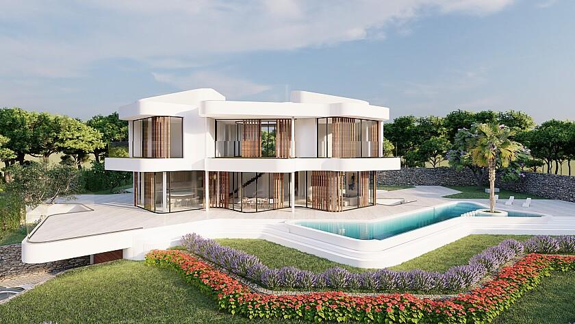 Hochmoderner Neubau, eingebettet in die Natur